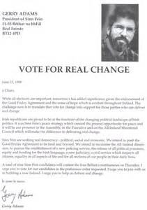 Letter Support Political Candidate Vote For Real Change 1998 Assembly Elections Letter From Gerry To Belfast Voters