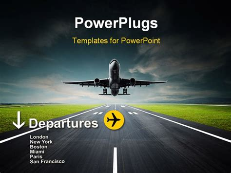 powerpoint template an airplane taking off from the
