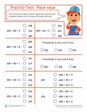 2nd Grade Test Prep Worksheets by Practice Test Place Value Worksheet Education