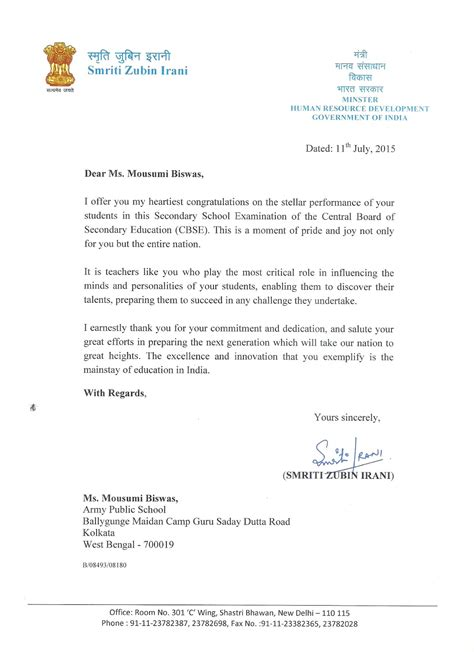 appreciation letter minister a journey towards sustainable future