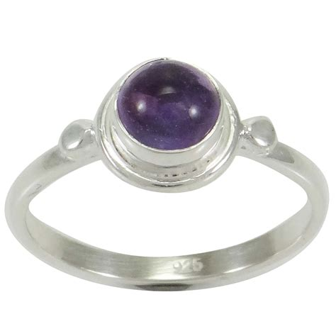 Handcrafted Silver Rings - amethyst cab 925 sterling silver ring us size 5