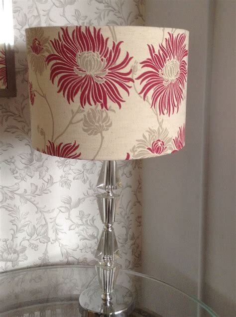 Handmade L Shade - handmade in kimono cranberry fabric drum