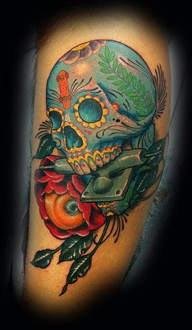 tattoo artist phoenix arizona eric james createlivedie day o dead skull
