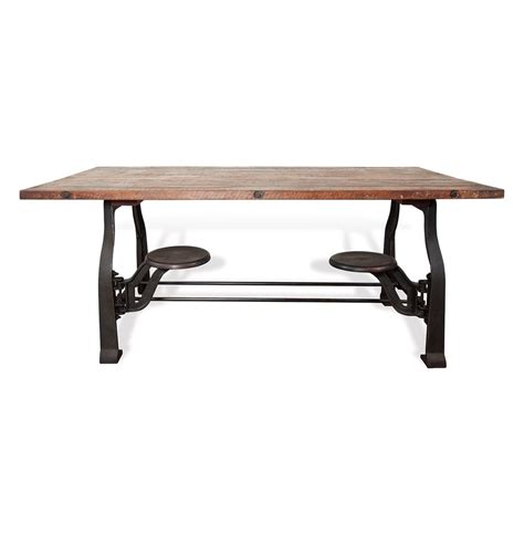 vince reclaimed wood industrial cast iron dining table