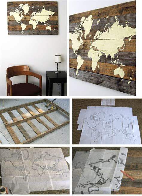 diy living room wall art pallet board world map click pic for 36 diy wall art