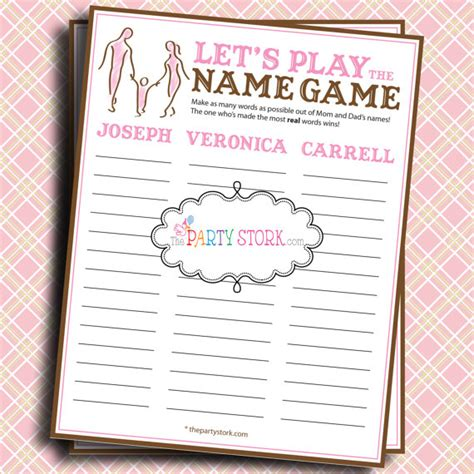 To Play At Baby Shower by Baby Shower Let S Play The Name Name By Thepartystork