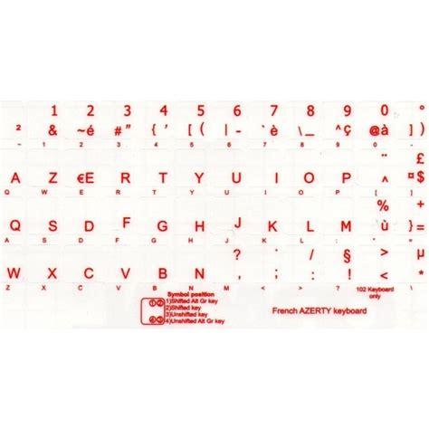 lettere francesi adesivi tastiera francese fondo trasparente lettere rosse