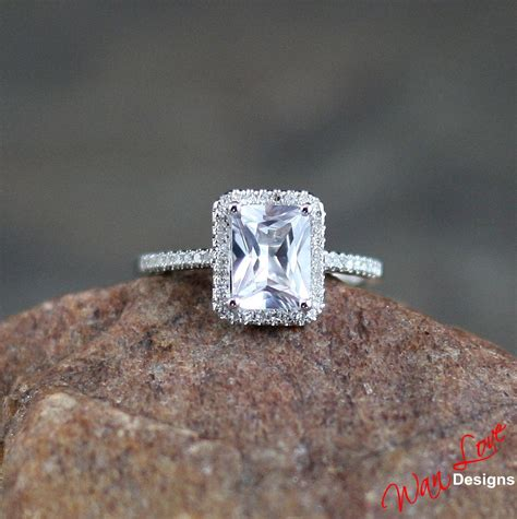 white sapphire emerald cut halo engagement ring 2ct