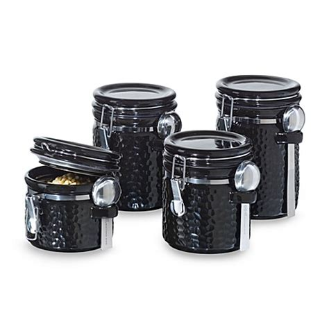 bed bath and beyond canister sets oggi hammered ceramic 4 piece canister set black bed