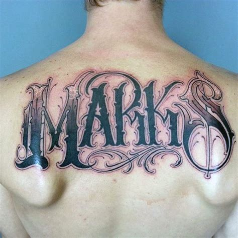 tattoo name on back 50 last name tattoos for men honorable ink ideas