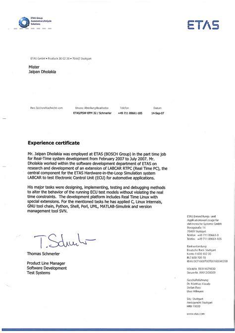 sample experience certificate engineers engi tube