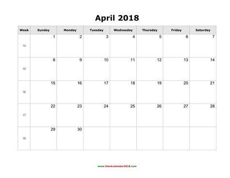 april 2018 calendar blank template blank calendar for april 2018