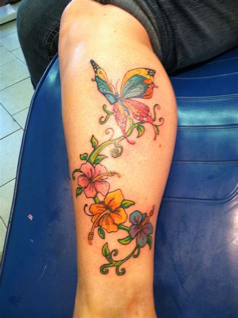 leg flower tattoo designs butterfly flowers color leg calf beautiful