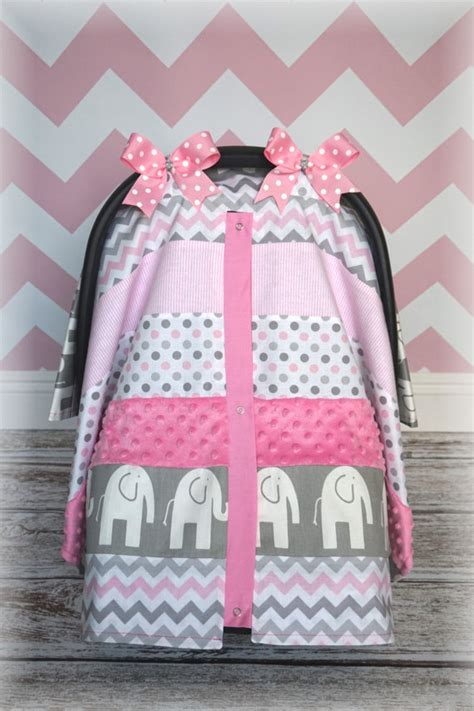 pink and gray car seat covers items similar to new minky carseat canopy car seat