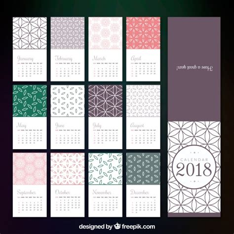 printable calendar 2018 decorative 2018 calendar template in flat design vector free download