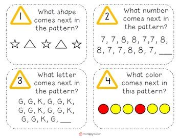 pattern math word problems problem solving task cards for k 2 students see more