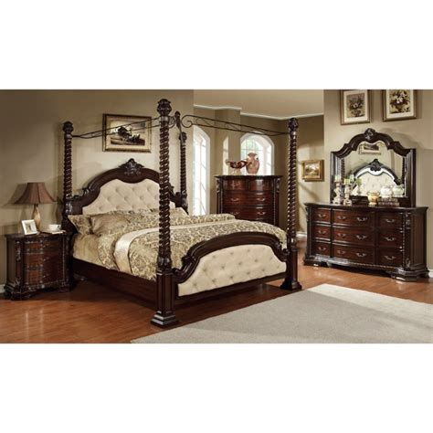 king canopy bedroom sets furniture of america cathey 4 california king canopy bedroom set idf 7296la ck c 4pc