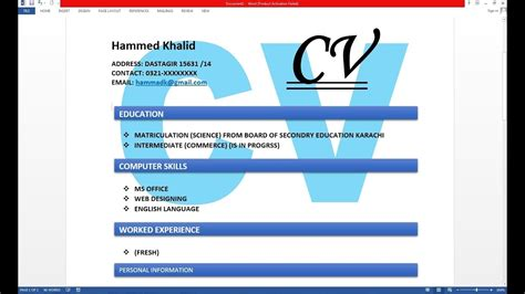 How To Make Resume With Microsoft by How To Make Resume Cv With Microsoft Word