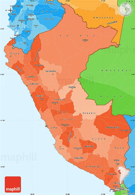 peru political map political shades simple map of peru