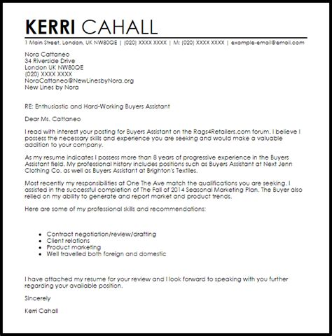 Buying Assistant Cover Letter by Buyer Assistant Cover Letter