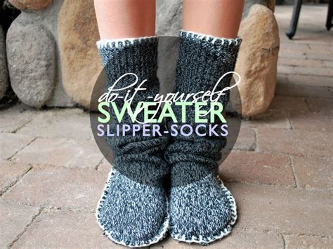 diy socks recycle an sweater into a pair of cozy slipper socks diy tutorial ecouterre