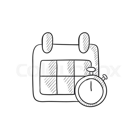 doodle calendar wiki calendar and stopwatch vector sketch icon isolated on