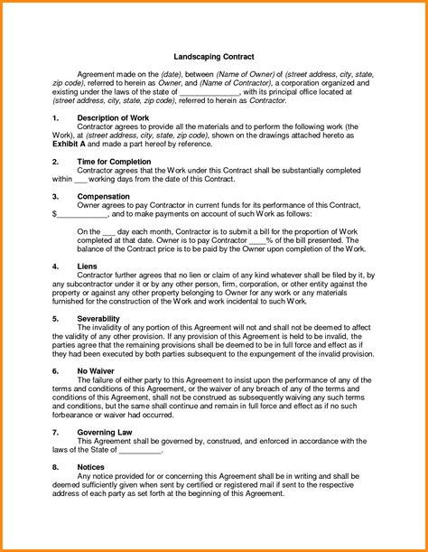 5 landscaping contract template model resumed