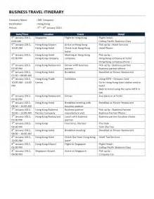 Business Travel Plan Template Business Trip Itinerary Freewordtemplates Gallery