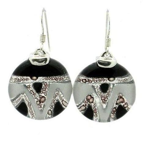 Silverchilli Jewellery Fair Trade Loveliness by Aztec Black And White Glass Sterling Silver Earrings