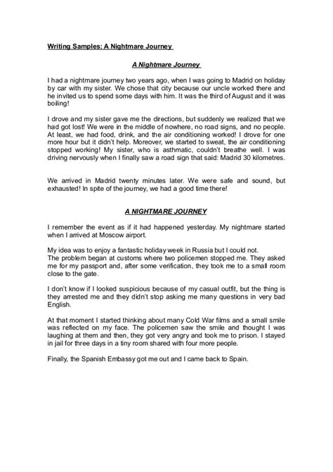 Journey Of Discovery Essays by Writing Sles Nightmare Journey Sles