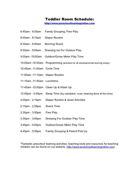 daily toddler schedule  educators