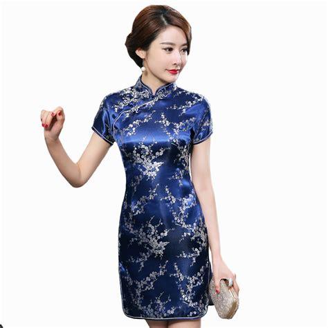traditional chinese cheongsam dresses navy blue traditional chinese dress women s satin qipao