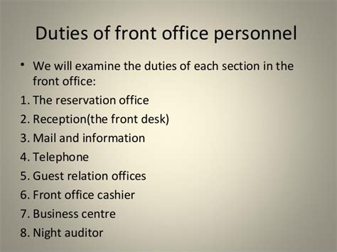 front desk officer duties and responsibilities duties of front desk officer introduction to front