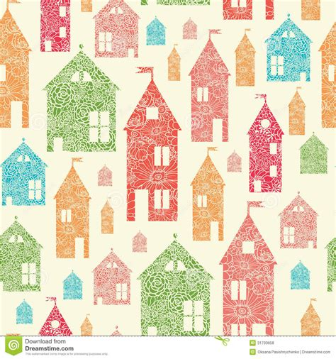 seamless pattern houses flower town houses seamless pattern background royalty