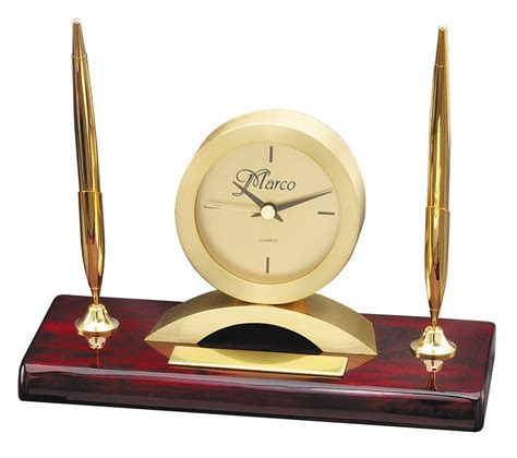 Pen Stand Clock 16034 rosewood gold personalized dual pen stand clock clocks