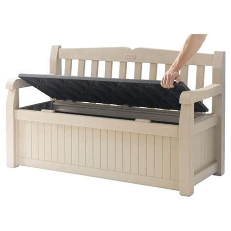 buy keter eden plastic storage bench from our garden