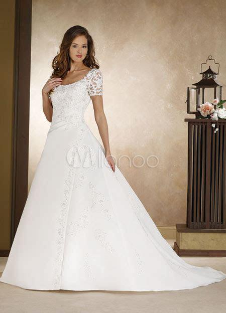 imagenes vestidos de novia con manga corta manga corta una l 237 nea de moldeado apliques satinado