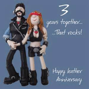 happy 3rd leather anniversary greeting card one lump or two cards kates