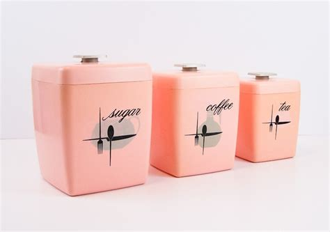 pink kitchen canister set mid century pink plastic kitchen canister set retro