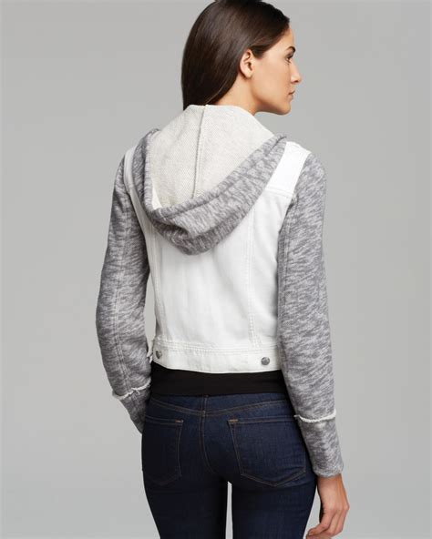 free denim and knit jacket free denim and knit hooded jacket in lyst