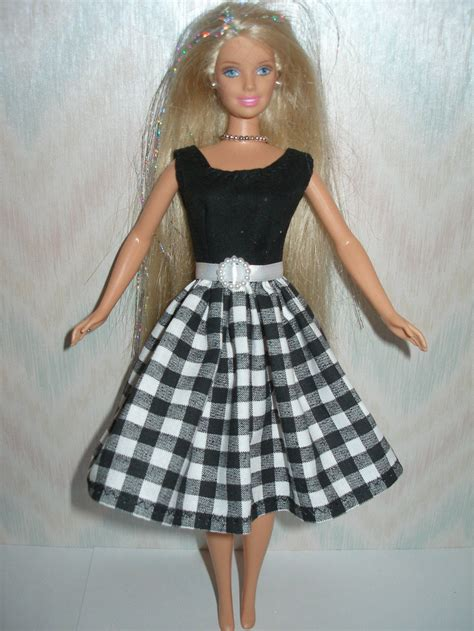 handmade clothes black and white dress