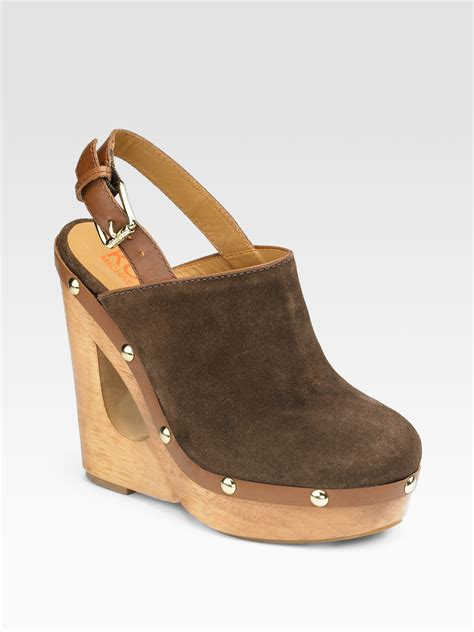 wedge clogs for kors by michael kors harbor suede cutout wedge clogs in