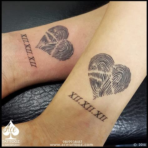 best couple tattoos pictures thumbprint ace tattooz