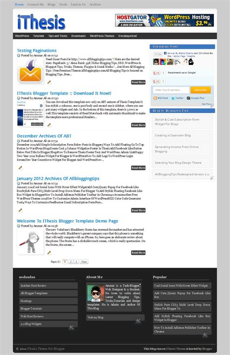 releasing ithesis theme free premium blogger template