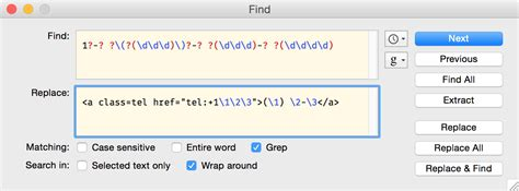 grep pattern with numbers converting phone numbers to links using grep in bbedit