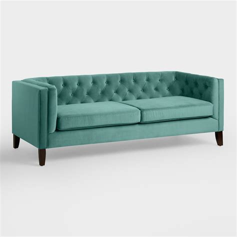 world market couch teal velvet kendall sofa world market
