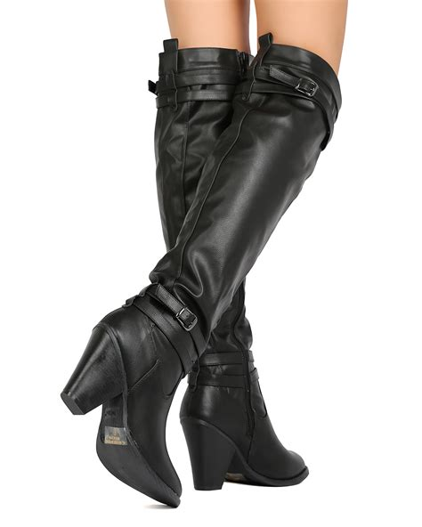 Buckled Chunky Heel Boots nature outcast 03 pu the knee buckled chunky