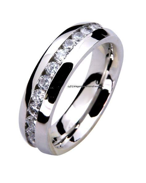 316l stainless steel mens comfort fit 6mm cz