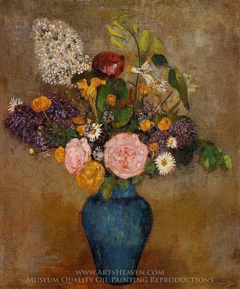 Vase Of Flowers Paintings by Odilon Redon Blue Vase Of Flowers Painting Reproduction
