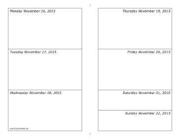 printable daily planner november 2015 printable 11 16 2015 weekly calendar horizontal
